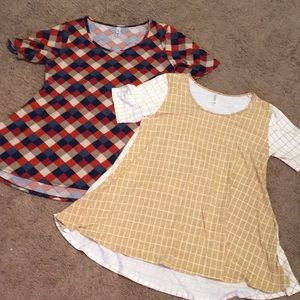 Lot of 2 Lularoe perfect tees, fall colors, l & xl